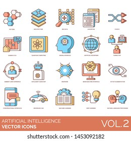 Artificial intelligence icons including pattern, big data, algorithm, quantum computing, noosphere, turing test, graphene, brain machine, eyetap augmentation, driverless car, deep learning, processing