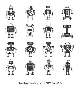 Artificial Intelligence icons, robot and cybrog icons, AI icons