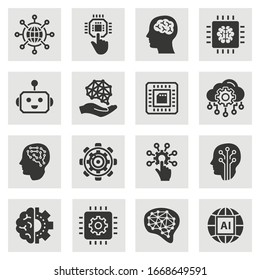 Artificial intelligence icons. Set of brain, robot, ai, head, innovation and more.