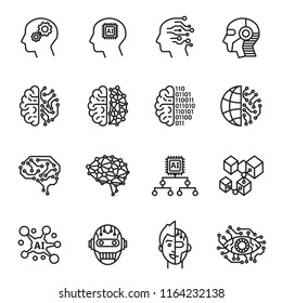 Artificial Intelligence icons set. Line Style stock vector.