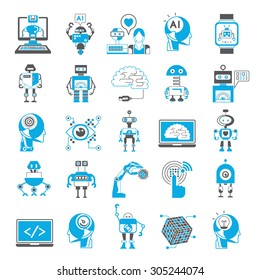 artificial intelligence icons set, robotic icons