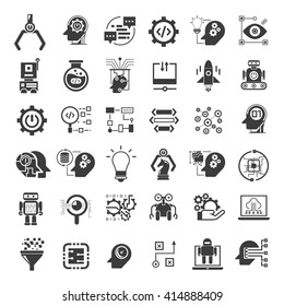 artificial intelligence icons set, robotics icons
