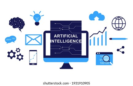 Artificial intelligence with icons vector background illustration.  Deep learning, blockchain, neural network, big data, problem solving, machine learning concept with global network connections.