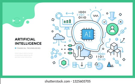 Artificial intelligence illustration. Data collection, analysis and application. Concept of trending financial technologies for web banners, hero images or printed materials