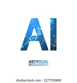 Artificial intelligence illustration. Neural networks and another modern technologies concepts. Data transfer concepts in internet. Graphic concept for your design