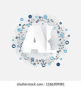 Artificial Intelligence, Internet of Things and Smart Technology Concept Design with AI Logo and Icons - Vector Illustration