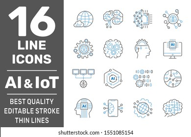 Artificial Intelligence and IoT thin icons set. AI, Iot, IIoT, Factory 4.0. Binary Code, Robot, Microchip, Smart Brain and other icons. Editable Stroke. EPS 10