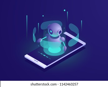 Artificial Intelligence, isometric ai robot on mobile phone screen, chatbot app vector neon dark