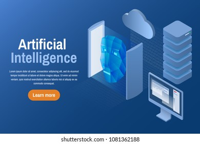 Artificial intelligence. Isometric vector illustration. Learning machine with human face. AI techniques and computer science.