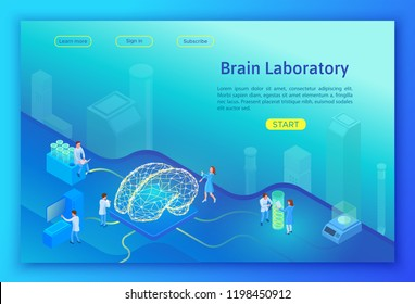 Artificial intelligence laboratory isometric concept, landing page template with 3d equipment, scientists doing experiment with ai and research, healthcare concept vector illustration