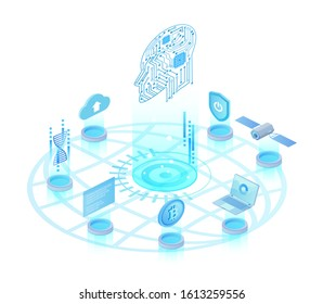 Artificial intelligence light isometric vector illustration. Digital innovative technology. Futuristic robotic mind. Cyberspace networking. Machine learning. AI cartoon conceptual design element