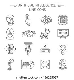 Artificial intelligence line icon set with different or various types of robots and parts vector illustration