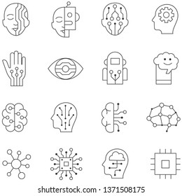 Artificial Intelligence line icons