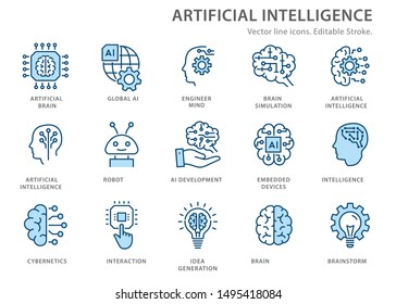 Artificial intelligence line icons. Set of brain, ai, head, machine, technology and more. Editable stroke.