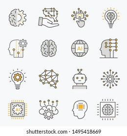 Artificial intelligence line icons. Set of brain, ai, robot, machine, technology and more. Editable stroke.