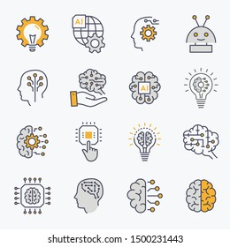 Artificial intelligence line icons. Set of brain, ai, robot, machine, mind and more. Editable stroke.