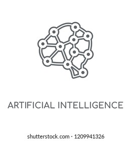 Artificial intelligence linear icon. Artificial intelligence concept stroke symbol design. Thin graphic elements vector illustration, outline pattern on a white background, eps 10.