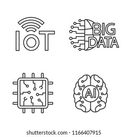 Artificial intelligence linear icons set. Thin line contour symbols. Neural network. Neurotechnology. Internet of things, big data, chip, AI. Isolated vector outline illustrations. Editable stroke
