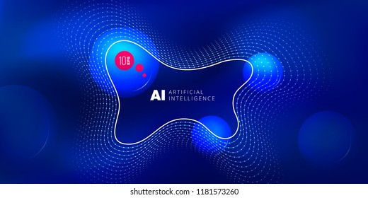 Artificial intelligence liquid color background design. Fluid gradient shapes composition. Futuristic design posters. Eps10 vector
