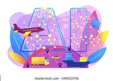 Artificial intelligence in logistics and distribution. AI in travel and transportation, AI travel recommendations, AI smart booking concept. Bright vibrant violet vector isolated illustration