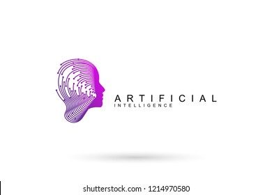 Artificial Intelligence logo icon. Dynamic lines and dots symbol with human head. Virtual Assistant service icon. Machine learning, digital brain and thinking process concept. Vector illustration.