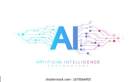 Artificial Intelligence Logo, Icon. Vector symbol AI, deep learning blockchain neural network concept. Machine learning, artificial intelligence, ai