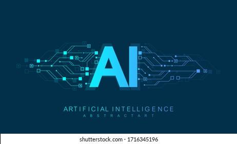 Artificial Intelligence Logo, Icon. Vector symbol AI, deep learning blockchain neural network concept. Machine learning, artificial intelligence, ai
