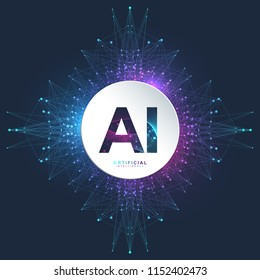 Artificial Intelligence Logo. Artificial Intelligence and Machine Learning Concept. Vector symbol AI. Neural networks. Deep learning and future technology concept design