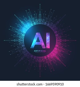 Artificial Intelligence Logo Plexus effect. Artificial Intelligence and Machine Learning Concept. Vector symbol AI. Neural networks and another modern technologies concepts. Technology sci-fi concept