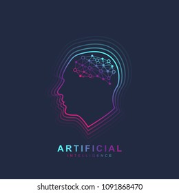 Artificial Intelligence and Machine Learning Logo Concept. Human head outline with brain icon. Vector symbol AI. Brain Logotype Template