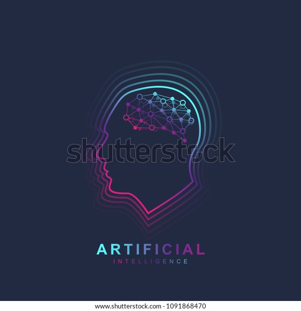 Artificial Intelligence Machine Learning Logo Concept Stock Vector