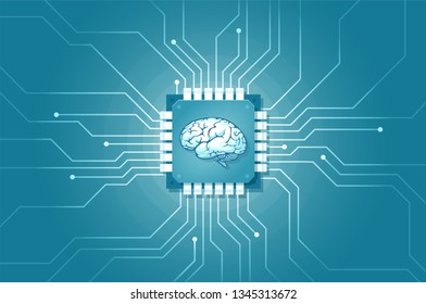 Artificial intelligence machine learning technology integration in human life concept. Vector of a computer circuit implanted in human brain.