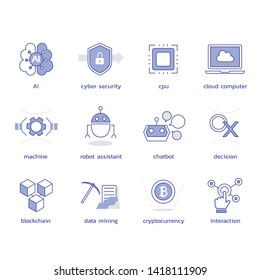 Artificial intelligence. Machine learning. vector icons II