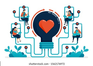 Artificial intelligence to match partner and relationship. Ideas for matchmaker. Ideas for love, marriage, engagement. Light bulb with heart. Illustration of website, banner, poster, invitation, card