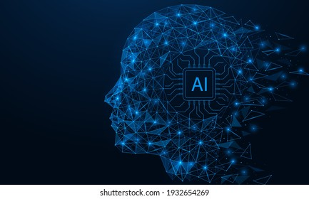 Artificial intelligence. A microchip in the cyborg's head. Low-poly design of lines and dots. Blue background.