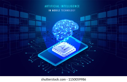Artificial Intelligence In Mobile Technology concept, isometric illustration of smartphone with AI processor chip on Sci-Fi background.