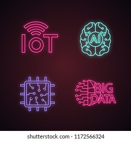 Artificial intelligence neon light icons set. Neural network. Neurotechnology. Internet of things, big data, chip, ai. Glowing signs. Vector isolated illustrations
