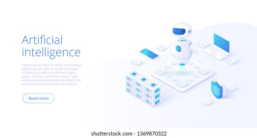 Artificial intelligence or neural network concept in isometric vector illustration. Neuronet or ai technology background with robot head and connections of neurons. Web banner layout template.