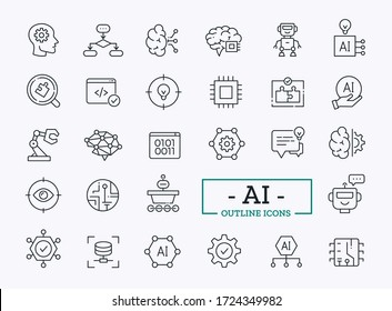 Artificial intelligence outline icons. Vector thin line symbols of robot, digital brain, coding, knowledge representation, machine learning