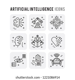 Artificial Intelligence Outline Set Icons Thin Style Pictogram Minimalist