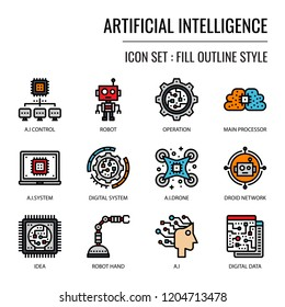 Artificial Intelligence, pixel perfect fill outline icon, isolated on white background