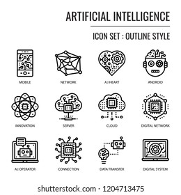 Artificial Intelligence, pixel perfect outline icon, isolated on white background