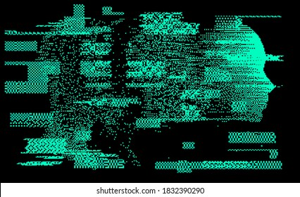 Artificial intelligence and Psychological profiling concept. Human head with glitched pixels, distorted profile of a woman made of square particles.