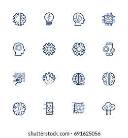 Artificial Intelligence Related Vector Icon: AI, robot, chipping, setting, Editable Stroke.