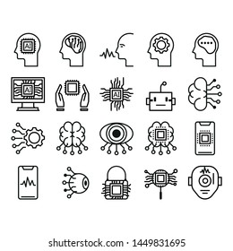 Artificial Intelligence Related Vector Line Icons. Contains such Icons as Face Recognition, Algorithm, Computer Process. Editable Stroke. Pixel Perfect stoke edit