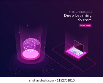 Artificial Intelligence responsive landing page design with isometric laptop and human brain between glowing digital rays for deep learning system.