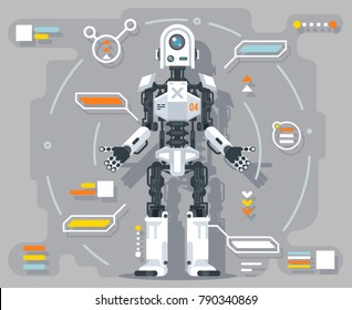 Artificial intelligence robot android information futuristic interface flat design vector illustration