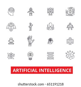 Artificial intelligence, robot, computer brain, technic, cyborg, brain, android line icons. Editable strokes. Flat design vector illustration symbol concept. Linear signs isolated on white background