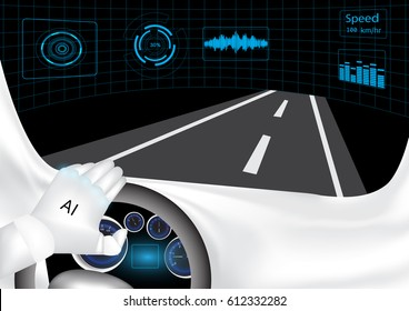An artificial Intelligence robot is driving a car in the experimental laboratory.