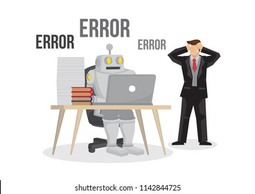 Artificial intelligence robot failures broken down due to overloaded. Artificial brain glitch and error. Business man is worry about the failure of his business. Isolated vector illustration.